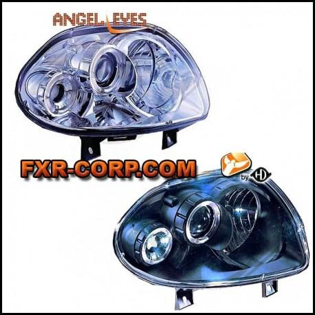 paire de phares avant angel eyes pour clio 2 homologu cee. Black Bedroom Furniture Sets. Home Design Ideas